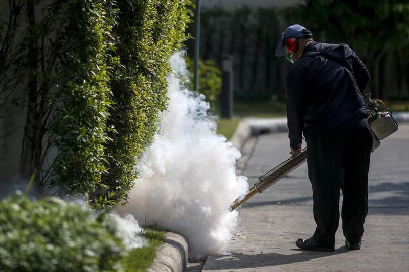 A worker sprays insecticide for mosquitos at a village in Bangkok, Thailand, on January 13, 2016. Photo: Reuters
