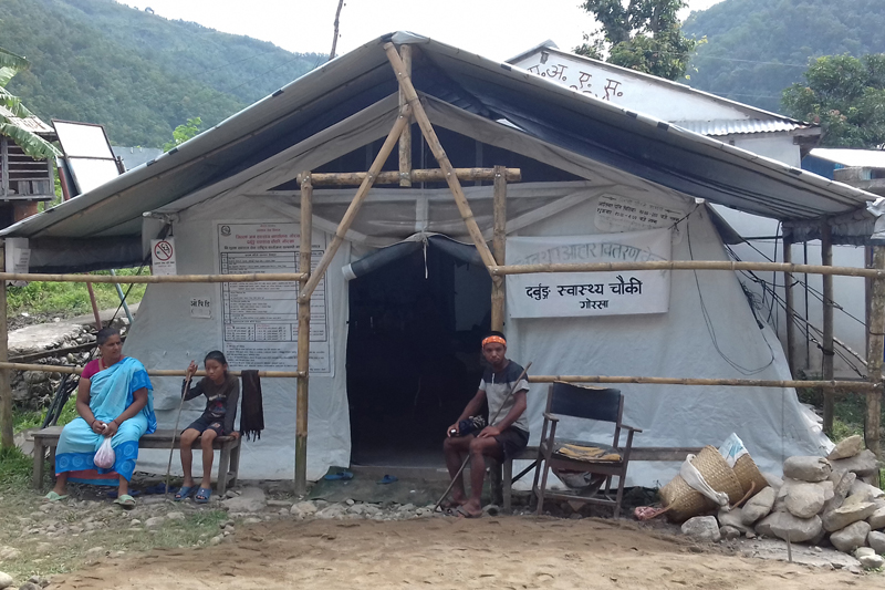 The Darbung Health Post operates from a makeshift structure as it aways reconstruction following the 2015 earthquake, in Gorkha district, in this image taken on Friday, September 2, 2016. Photo: RSS