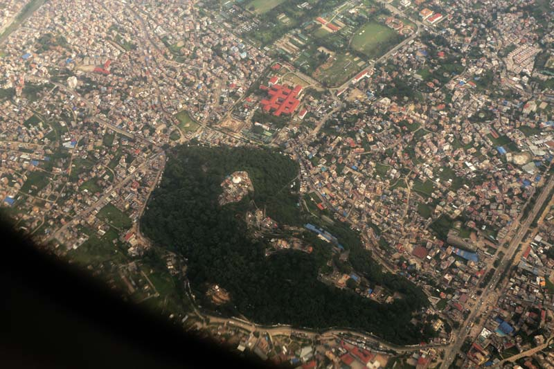 An aerial view of the Swayambhunath stupa and adjoining region in the Kathmandu Valley, on Tuesday, September 6, 2016. Photo: RSS