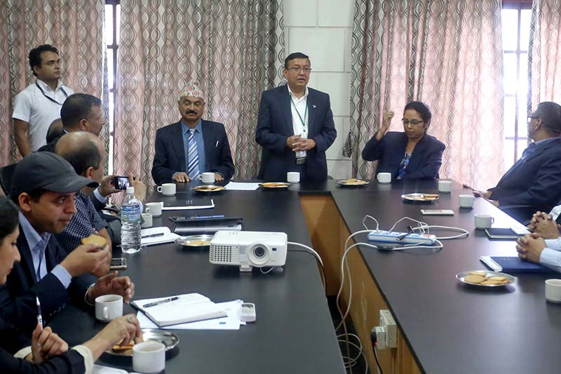 Information and Communications Secretary Dinesh Kumar Thapaliya briefs about the expansion of the optical fibre network to 32 districts along the Mid-Hill (Pushpalal) Highway, in Kathmandu, on Wednesday, September 28, 2016. Photo: RSS