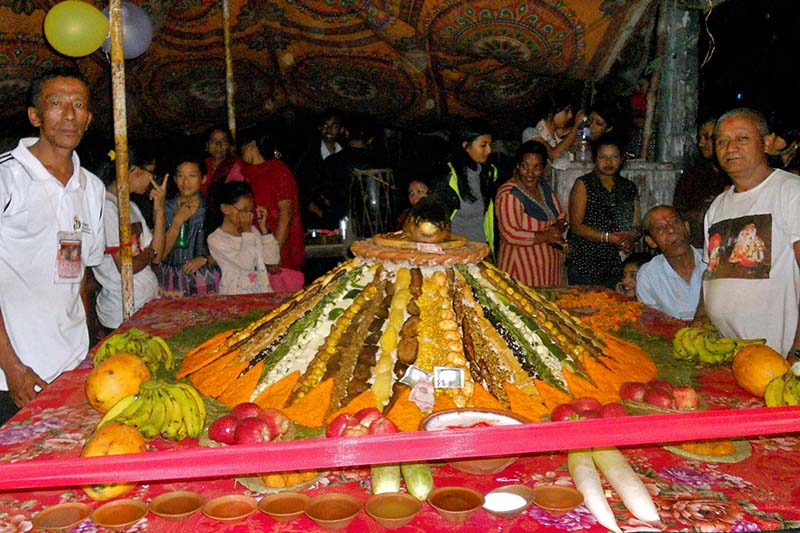 Samaybaji, an ensemble of different dishes in a heap, put on display by Khusibu Samaj during the Indra Jatra festival at Khusibu, on Wednesday, September 14, 2016. Photo: RSS