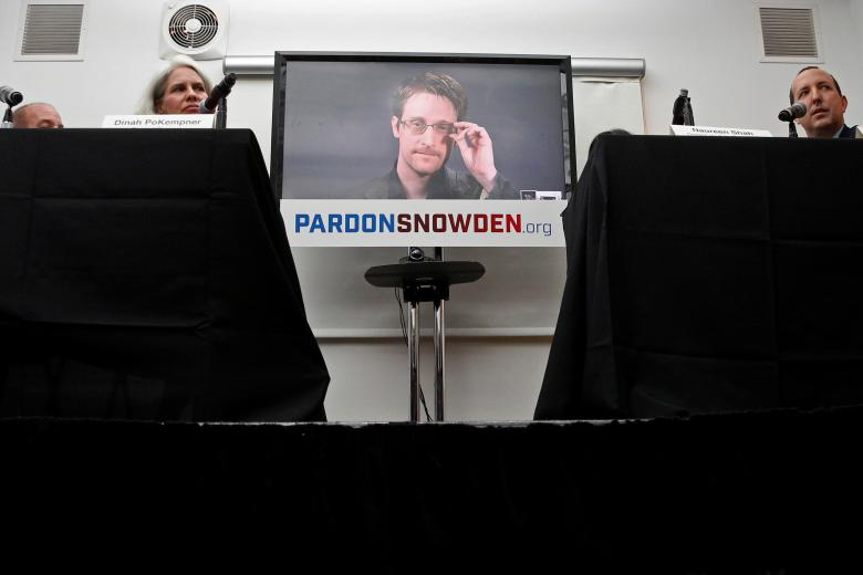 Edward Snowden speaks via video link during a news conference in New York City, September 14, 2016. REUTERS/Brendan McDermid