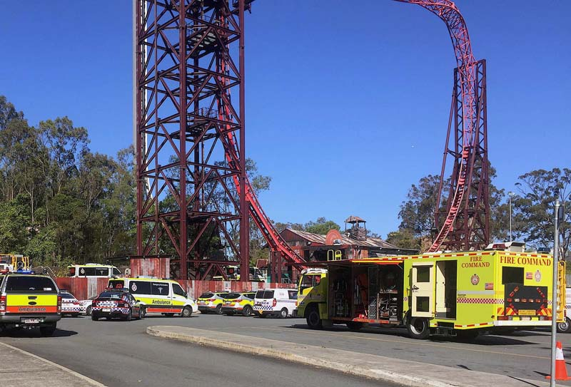 Emergency services vehicles can be seen outside the Dreamworld theme park at Coomera on the Gold Coast, Australia, on Tuesday, October 25, 2016. Photo: Reuters