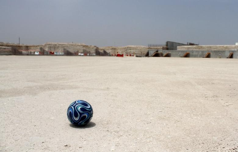 A football is seen at the construction site of Al Wakrah stadium, that is expected to host soccer matches during the 2022 World Cup, in Al Wakrah, Qatar April 12, 2016. REUTERS/Naseem Zeitoon
