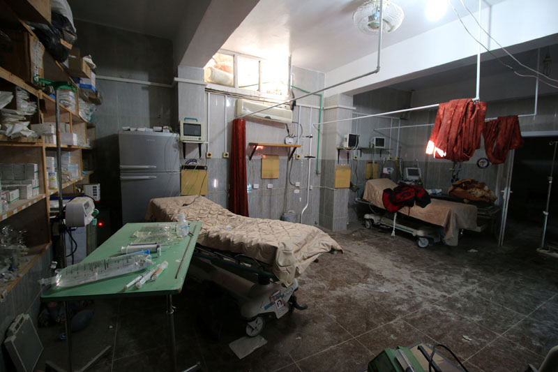 An empty room at a damaged field hospital is seen after airstrikes in a rebel held area in Aleppo, Syria, on October 1, 2016. Photo: Reuters