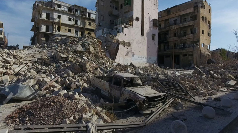 A still image from video taken October 12, 2016 of a general view of the bomb damaged Old City area of Aleppo, Syria. Video released on October 12, 2016. Photo: Reuters