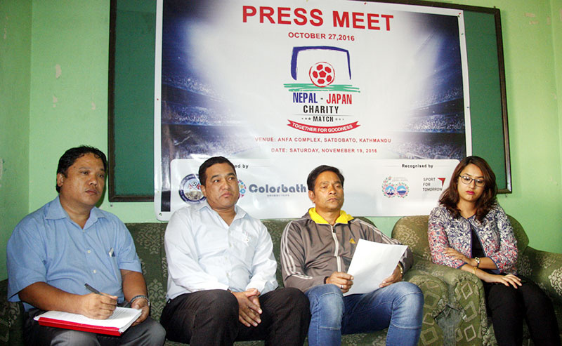 Officials of All Nepal Football Association and Colorbath Nepal during a press conference at the Nepal Sports Journalists Forum in Kathmandu on Thursday, October 27, 2016. Photo: THT