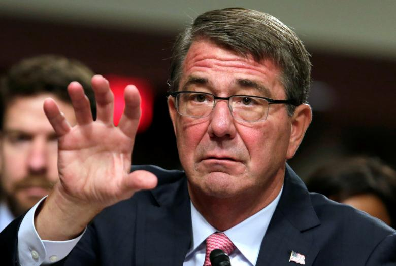 U.S. Defense Secretary Ash Carter testifies before a Senate Armed Services Committee hearing on National Security Challenges and Ongoing Military Operations on Capitol Hill in Washington, U.S., September 22, 2016. REUTERS/Yuri Gripas/File Photo