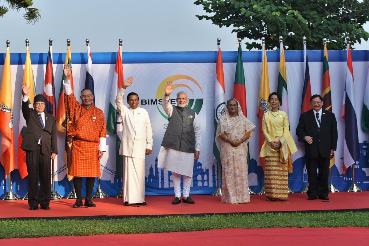 (From left) Prime Minister of the Federal Democratic Republic of Nepal Pushpa Kamal Dahal, Prime Minister of the Kingdom of Bhutan Tshering Togbay, President of the Democratic Socialist Republic of Sri Lanka Maithripala Sirisena, Prime Minister of the Republic of India Narendra Modi, Prime Minister of the Peopleu2019s Republic of Bangladesh Sheikh Hasina Wazed, State Counsellor of the Republic of the Union of Myanmar Aung Sang Suu Kyi and Vice Foreign Minister Virasakdi Futrakul at the BIMSTEC Outreach Summit, in Goa of India, on Sunday, October 16, 2016. Photo Courtesy: MEA India
