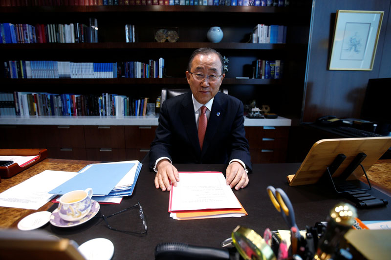 United Nations Secretary General Ban Ki-moon sits at his desk as he poses for a portrait in his office at United Nations Headquarters in the Manhattan borough of New York, New York, US, on October 21, 2016. Photo: Reuters