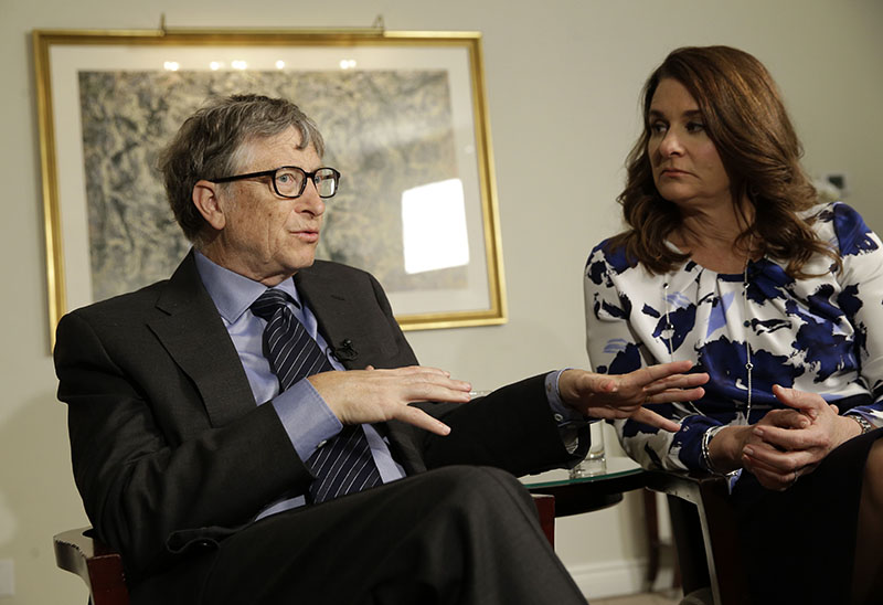 FILE - Bill and Melinda Gates talk to reporters about the 2016 annual letter from their foundation, the Bill and Melinda Gates Foundation, in New York, on Monday, February 22, 2016. Photo: AP