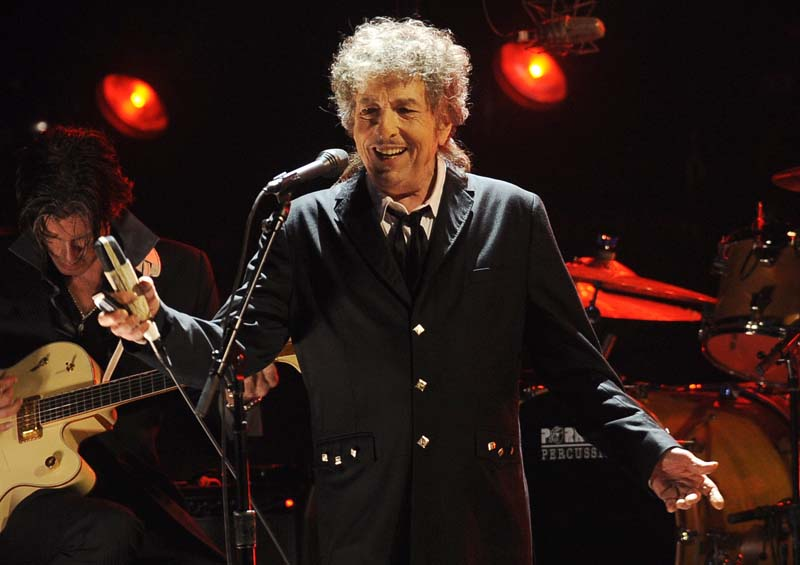 File- Bob Dylan performs in Los Angeles on January 12, 2012. Photo: AP