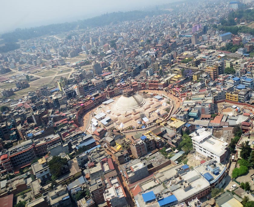 FILE - An aerial view of Bouddhanath Stupa, a UNESCO World Heritage Site, in Kathmandu, in April 2016. The ancient stupa which was  affected by the April 25, 2015 earthquake is being renovated. Photo: Keshav P. Koirala