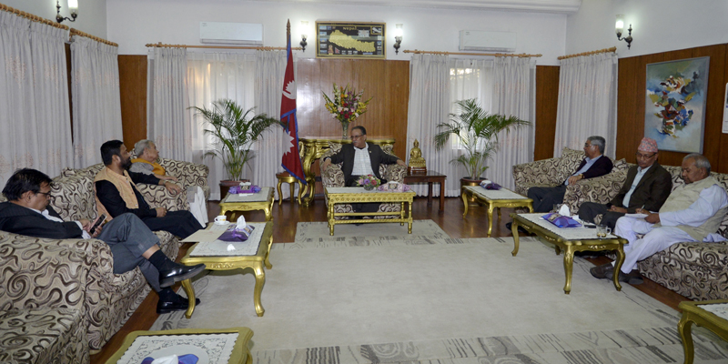 PM Pushpa Kamal Dahal among leaders of ruling CPN Maoist Centre and Nepali Congress hold a meeting with leaders of Madhesi parties, in Kathmandu, on Saturday, October 29, 2016. Photo: RSS