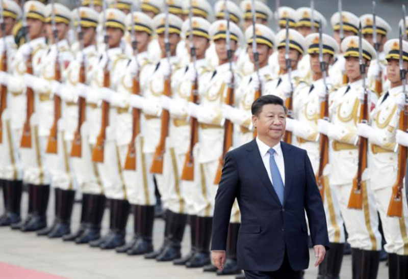 China's President Xi Jinping reviews honour guards during a welcoming ceremony for Peru's President Pedro Pablo Kuczynski (not in picture) at the Great Hall of the People in Beijing, China, on September 13, 2016. Photo: Reuters