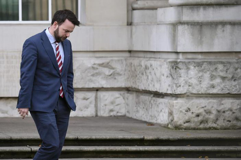 Colm Eastwood of the Social Democratic and Labour Party departs the High Court in Belfast, Northern Ireland, on October 28, 2016. Photo: Reuters