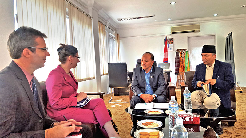Commerce Minister Romi Gauchan Thakali (second from right) in a meeting with US Ambassador to Nepal Alaina B Teplitz, in Kathmandu, on Tuesday, October 18, 2016. Photo courtesy: MoC