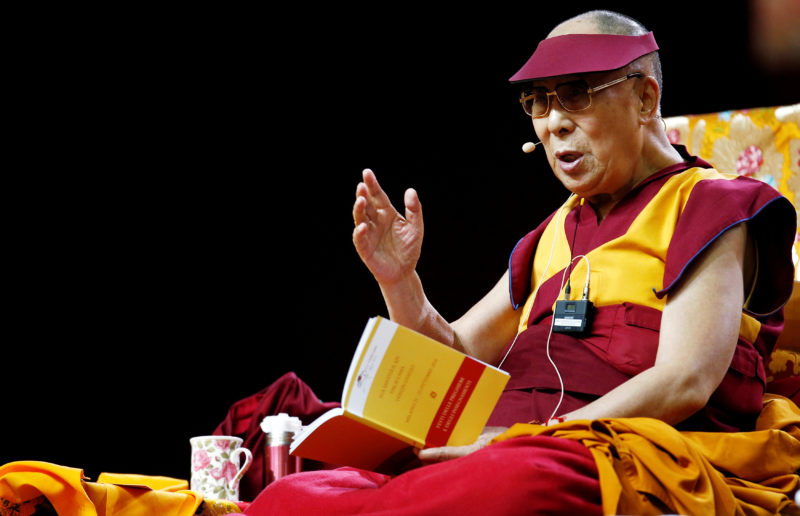 Tibet's exiled spiritual leader the Dalai Lama gestures during a teaching event in Milan, Italy October 21, 2016. REUTERS/Alessandro Garofalo