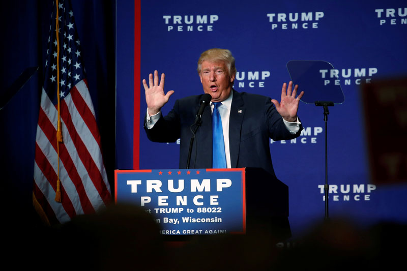 Republican presidential nominee Donald Trump holds a campaign rally in Green Bay, Wisconsin, US, on October 17, 2016. Photo: Reuters
