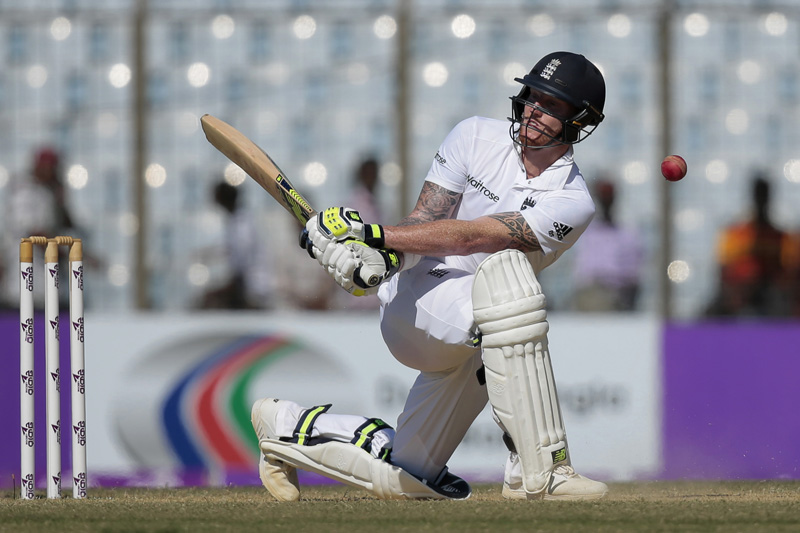 England's Ben Stokes plays a shot during the third day of their first cricket test match against Bangladesh in Chittagong, Bangladesh, Saturday, Oct. 22, 2016. Photo: AP