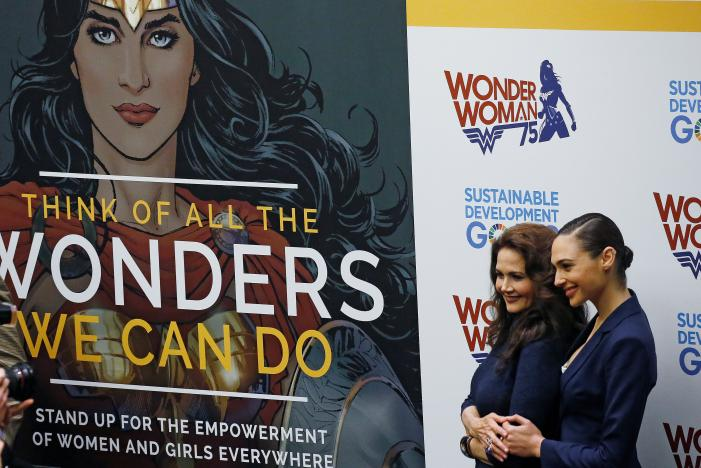 File - Actors Gal Gadot and Lynda Carter pose for photos during an event to name Wonder Woman UN Honorary Ambassador for the Empowerment of Women and Girls at the United Nations Headquarters in the Manhattan borough of New York, New York, US., on October 21, 2016. Photo: Reuters