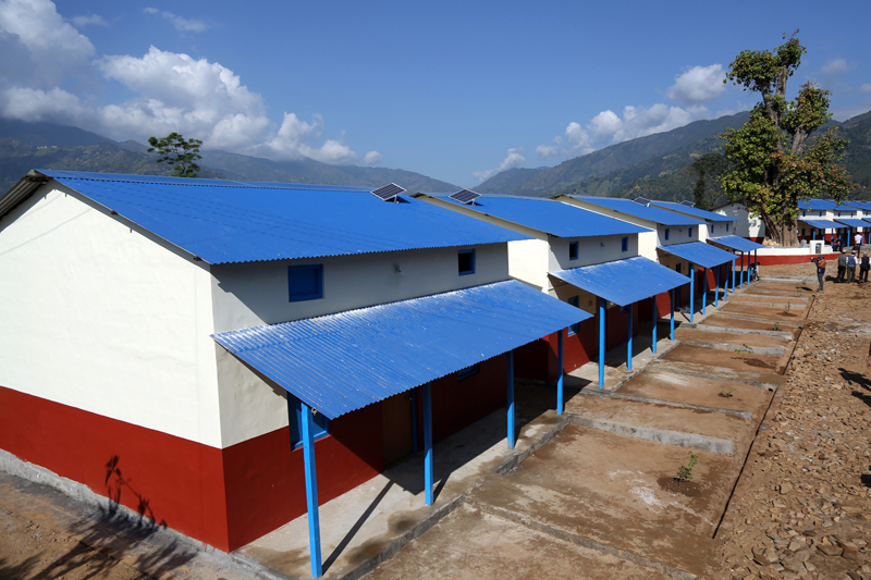 Houses of the Giranchaur integrated settlement for quake survivors, built by the Dhurmus Suntali Foundation, in Melamchi of Sindhupalchok district, as it was inaugurated, on Friday, October 28, 2016. Photo: RSS