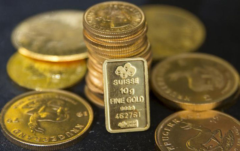 Gold bullion is displayed at Hatton Garden Metals precious metal dealers in London, Britain, on July 21, 2015. Photo: Reuters