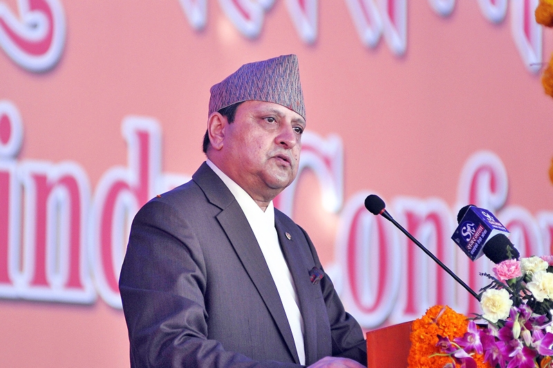 FILE: Former King Gyanendra Shah addressing the inauguration of International Birat Hindu Mahasammelan in Kathmandu, on Thursday, October 20, 2016. Photo: THT