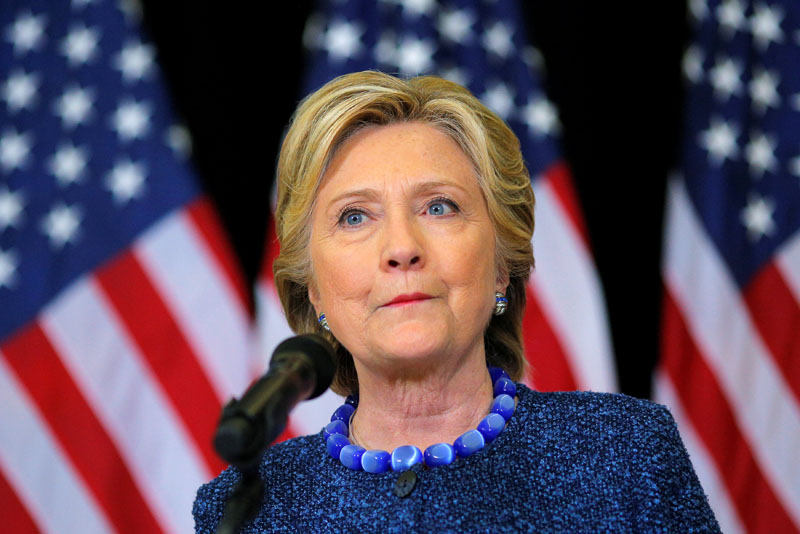US Democratic presidential nominee Hillary Clinton holds an unscheduled news conference to talk about FBI inquiries into her emails after a campaign rally in Des Moines, Iowa, US, on  October 28, 2016. Photo: Reuters