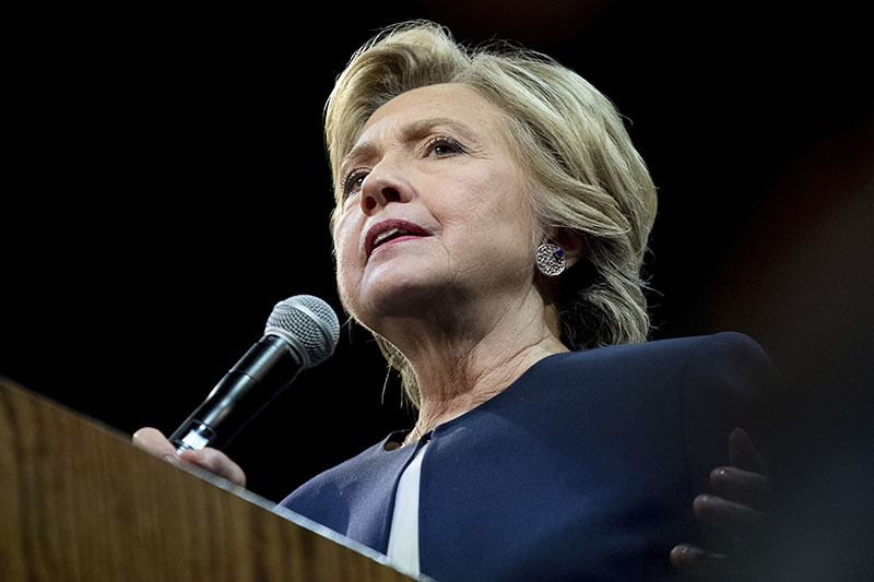 Democratic presidential candidate Hillary Clinton speaks at a fundraiser at the Civic Center Auditorium in San Francisco, on Thursday, October 13, 2016. Photo: AP