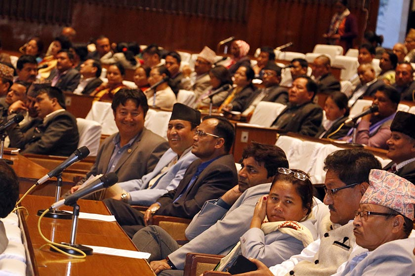 FILE: Lawmakers taking part in the House meeting which started deliberations on the impeachment motion against the CIAA chief, Lok Man Singh Karki, on Tuesday, October 25, 2016. Photo: RSS