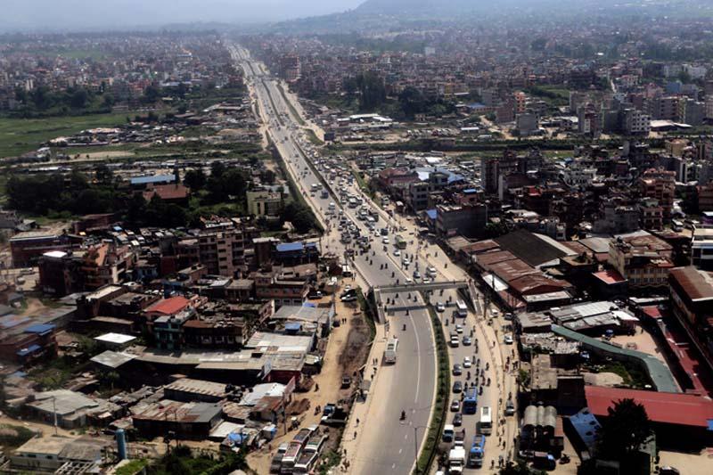An aerial view of Kathmandu-Bhaktapur six-lane road along the Araniko Highway, as seen on Thursday, October 20, 2016. Photo: RSS