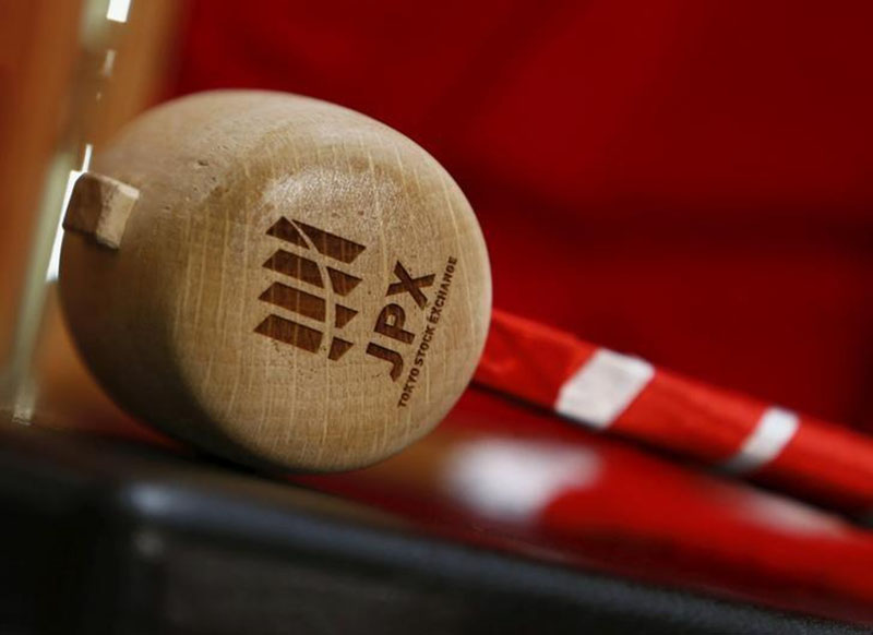 A logo of Japan Exchange Group Inc is seen on a gavel before the New Year opening ceremony at the Tokyo Stock Exchange (TSE), held to wish for the success of Japan's stock market, in Tokyo, Japan, on January 4, 2016. Photo: Reuters