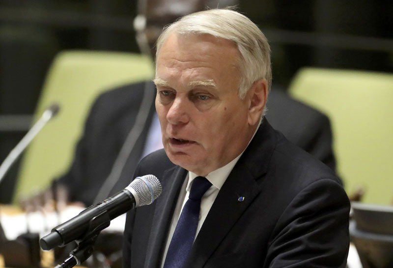 France's Minister for Foreign Affairs Jean-Marc Ayrault speaks during a high-level meeting on addressing large movements of refugees and migrants at the United Nations General Assembly in Manhattan, New York, US, on September 19, 2016. Photo: Reuters