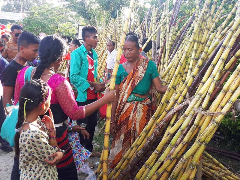 Vendors sell sugarcanes in a local market in Lakhanpur of Jhapa, on Sunday, October 16, 2016. Photo: RSS