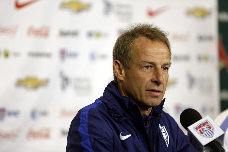 FILE - US men's national soccer team coach Jurgen Klinsmann taking part in a news conference in St Louis, on November 12, 2015. Photo: AP