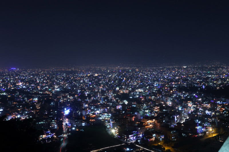 An alluring view of the Kathmandu Valley, illuminated in the Dipawali lights, in the evening of Laxmi Puja, from Swayambhunath, on Sunday, October 30, 2016. Photo: RSS