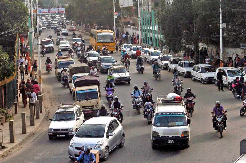 FILE: Vehicles plying on a road in Kathmandu on Wednesday, October 19, 2016.Traffic has returned to normal in the Valley after Dashain. Photo: THT