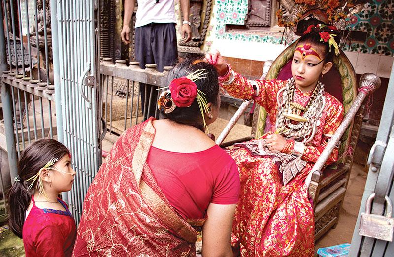 A woman receiving tika from Kumari at Gabahal, Lalitpur, on October 14, 2016. Photo: THT