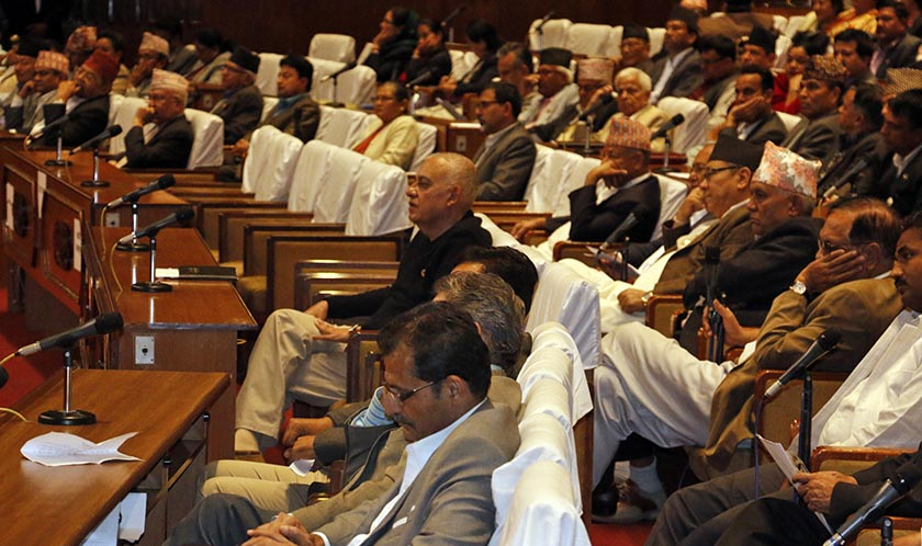 Lawmakers at Parliament as deliberations on Karki impeachment begins. Photo: RSS