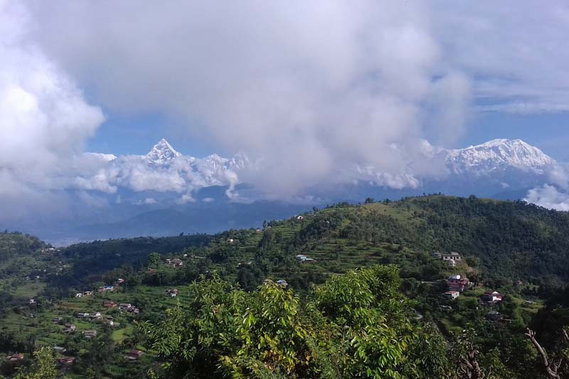 A majestic view of Mount Machhapuchhre as seen from Kotbhairav Temple of Lekhanath-18 in Kaski district, on Thursday, October 20, 2016. Photo: RSS