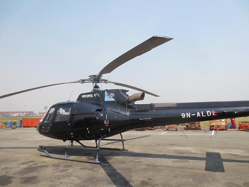 Manang Air's 9N-ALD helicopter at the Tribhuvan International Airport in Kathmandu. Photo: Keshav P. Koirala