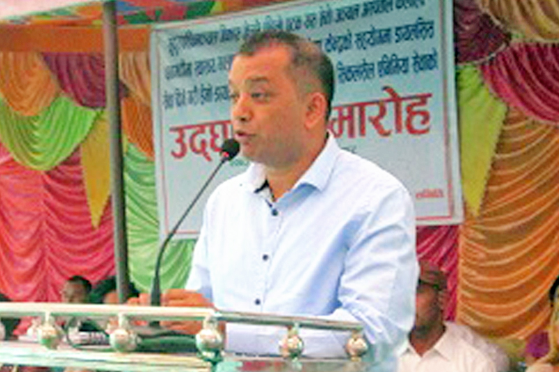 Minister for Health Gagan Thapa speaking at a programme in Dhangadhi, on Tuesday, October 4, 2016. Photo: RSS