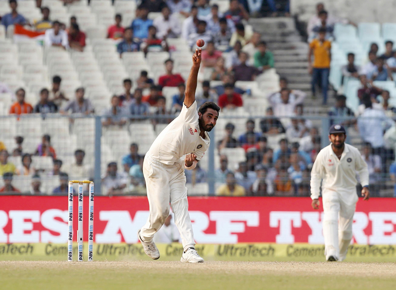 India's Mohammed Shami bowls. Photo: Reuters