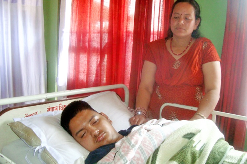 Mukesh Kayastha, who has remained unconscious for 10 years after he was injured in the janaandolan II. Photo: THT