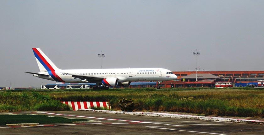 File-A Nepal Airlines Corporation aircraft at the Tribhuvan International Airport in Kathmandu. Photo: Keshav P. Koirala