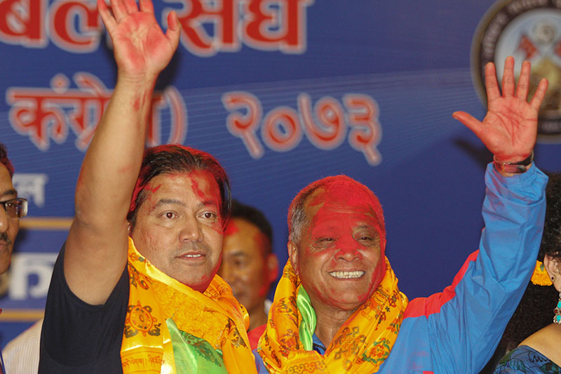 Newly-elected President of All Nepal Football Association Narendra Lal Shrestha (right) and vice-president Mani Kunwar gesture after the 15th General Assembly in Kathmandu on Monday, October 24, 2016. Photo: Udipt Singh Chhetr/THT