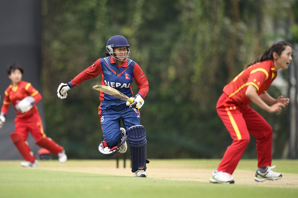 Batting first, Nepal defeated China by 20 runs in the ICC  Women's World Cup Asia Qualifier 2016 at the Kowloon Cricket Club in Hong Kong. Photo: ICC