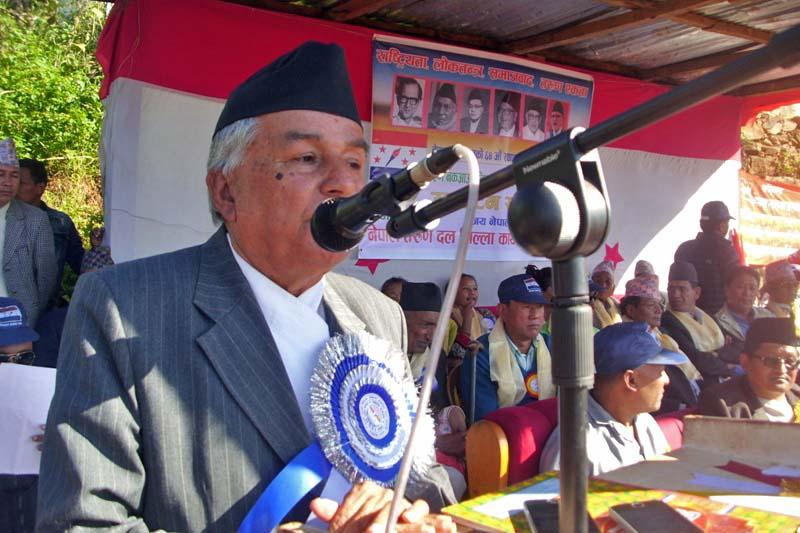 Nepali Congress senior leader Ram Chandra Paudel addresses the crowd amid an inauguration programme of football competition in Phidim of Panchthar, on Wednesday, October 19, 2016. Photo: Laxmi Gautam/ THT