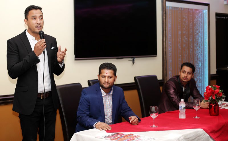 Nepal National Cricket Team captain Paras Khadka (left), Basanta Regmi and Siddhant Lohani deliver remarks during Meet & Greet Dinner With Nepali Cricketers organised by Nepali Rhinos Cricket Club in Virginia, US, on October 30, 2016. Photo: Kumar Shrestha, Washington DC USA via RSS